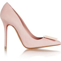 Acne Studios Alivia suede pumps ($260) ❤ liked on Polyvore featuring shoes, pumps, heels, pastel pink, suede slip on shoes, pink suede pumps, wide heel pumps, wide pumps and wide shoes