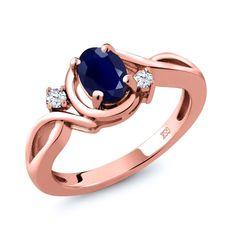 1.10 Ct Oval Blue Sapphire White Topaz 18K Rose Gold Plated Silver Ring #GemStoneKing #FashionRightHand