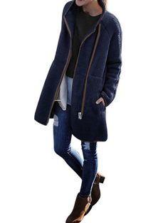 Women Winter Fur Jacket Tops Fluffy Cashmere Fleece Coat Cardigans Women Zipper Teddy Coat Faux Fur Coats Dark Blue S Teddy Coat, Mandarin Collar, Outerwear Women, Fur Jacket, Cardigans For Women, Sleeve Styles, Cashmere, Pure Products, Long Sleeve
