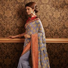 Grey Faux Georgette and Faux Georgette Shimmer Saree With Blouse