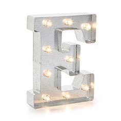 Lighted+Marquee+Letters:+Silver+Light+Up+Letter+E,+9.875+inches