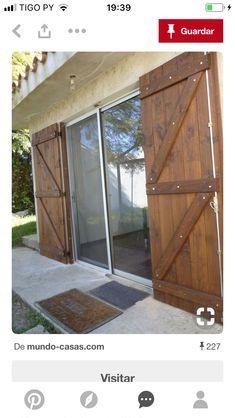 What a great idea for sliding patio doors Shed Doors, Patio Doors, Dutch House, Shutter Doors, Interior Barn Doors, Door Design, Windows And Doors, Architecture Design, New Homes