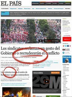 """""""Los violentos toman el centro de Barcelona"""" - es lo que decía elpais.com el 29.03.12 (graves incidentes por parte de grupos violentos, pero para nada representativos y para nada al punto de hacerse con el control del centro de  Barcelona) #periodismo - en jornada de huelga general, cabe hablar de menor rigor periodístico"""