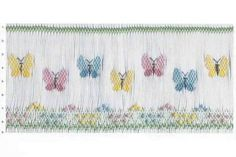 Smocking plate with small butterflies. 9 rows of smocking on a yoke or a bishop. Smocking Baby, Smocking Plates, Smocking Patterns, Baby Dress Patterns, Embroidery Patterns, Hand Embroidery, Sewing Patterns, Skirt Patterns, Coat Patterns