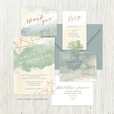 Modern wedding invitation suite with geometric shapes, copper and watercolor.  Pretty brush fonts help set apart this custom design, order yours today at Jeneze Designs.
