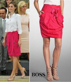 """The knee length skirt features a relaxed """"paper-bag"""" silhouette with a self-tie waist.  Hugo Boss fuchsia pink 'paper-bag' skirt and 'Bashina' shirt. Owned since May 2011"""