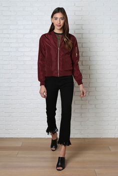 A lightweight bomber jacket is a must for the season ahead | Snag this maroon style and pair with skinnies and mules for a casual look | #springfashion #bomberjacket