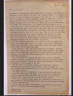 About creatitivity and persuasion, Bill Bernbach's resignation letter from Grey in 1947.