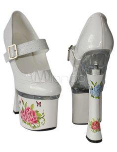 Stilvolle Plateau-Pumps aus Lackleder mit Schnallen und schönen Blumenmustern in Weiß - Milanoo.com