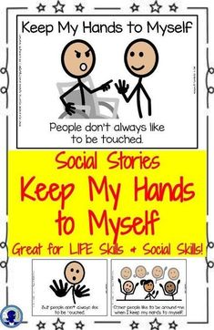 Skills for Students with Autism Social Story- Keep My Hands to Myself. For students with Autism, Early Elementary, or Special Education.Social Story- Keep My Hands to Myself. For students with Autism, Early Elementary, or Special Education. Social Skills Activities, Teaching Social Skills, Social Emotional Learning, Therapy Activities, Teaching Emotions, Social Skills Autism, Social Skills Lessons, Literacy Skills, Teaching Ideas