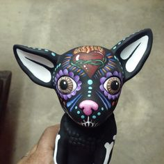 Close up of day of the dead Chihuahua i painted. @Artgirlcathy