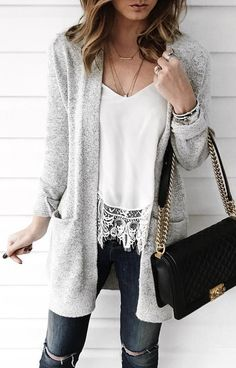 #winter #fashion / Grey Cardigan / White Lace Top / Ripped Skinny Jeans