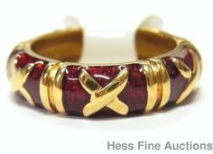 18k Gold Red Guilloche Enamel Hidalgo X Motif Size 6.5 Band Ring New w/ Tags #Unsigned #Band