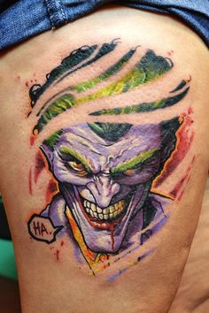 Sometimes it's impossible for a human playing the Joker to get the menace that you see in the comics. #InkedMagazine #joker #batman #villain #comics #tattoo #tattoos