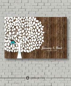 Rustic Wedding Guest Book Wedding Tree di MarshmallowInkLLC