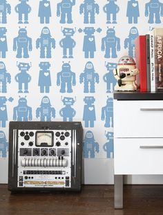 The coordinating fabric for this wallpaper is Solid Robots Material: Screen-printed by hand on clay-coated, FSC-certified paper. Also available on contract vinyl and Terralon.* Single roll*: 26 inches