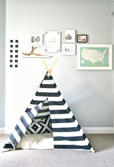 striped black n white teepee