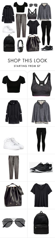 """""""Health goth"""" by grenger ❤ liked on Polyvore featuring H&M, NIKE, Yves Saint Laurent, goth, health, sporty, healthy and healthgoth"""