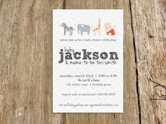 Zoo animals modern baby shower invitation boy or girl - customize with your colors and baby name - digital file on Etsy, $15.00