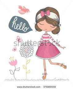Beautiful romantic girl/cute girl/T-shirt Graphics/illustration princess girl/Vector Cute beautiful fashionable girl/girl vector/adolescent girl/romantic girl/bird vector/animal lover/girl poster