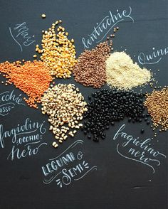 #beans and #seeds a pic I have Shoot for my blog #2016 #food #legumi #semi #foodtypography #calligraphy #calligrafia #handlettering #chalk #chalkboard