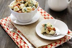 fontina, spinach, bacon and cheese shells // that looks delish but why did I first notice the lotus dots underneath?!!
