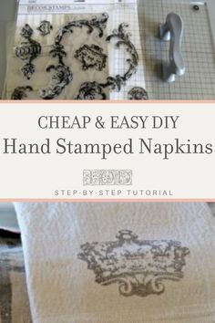 Check out this step by step tutorial on how to make beautiful hand-stamped cloth napkins from a drop cloth using IOD Decor Stamps. Dress up your dinner table with this easy DIY home decor project or give as a personalized wedding or housewarming gift. Handmade Birthday Gifts, Handmade Christmas Gifts, Friend Birthday Gifts, Handmade Gifts, Decorated Liquor Bottles, Diy Food Gifts, Iron Orchid Designs, Diy Home Decor Projects, Diy Wedding Decorations