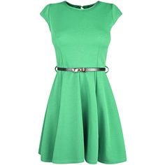 Green Scuba Skater Dress With Bow Detail Belt (€14) ❤ liked on Polyvore featuring dresses, vestidos, short dresses, mini dress, green skater dress, green day dress, viscose dress and rayon dress
