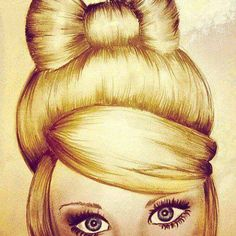Art / drawing / hair / girl / bow / eyes / awesome!