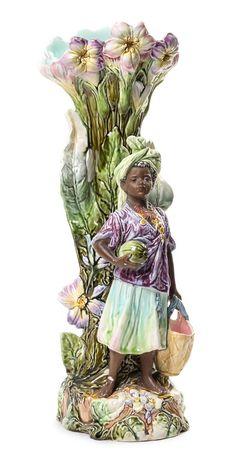 A Majolica Figural Spill Vase Height 18 inches. Antique Pottery, Ceramic Materials, Vintage Vases, Italian Renaissance, Bronze, Sculpture, Porcelain Ceramics, Great Artists, Art Nouveau