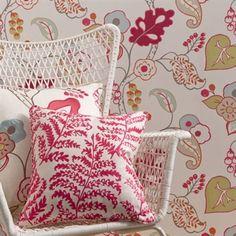 Floral wallpaper, Purple Floral wallpaper, Raspberry wallpaper, Damson Floral wallpaper, Floral Wallpaper, Clarke and Clarke wallpaper, Clarke and Clarke floral wallpaper, Botanica wallpaper, Botanica Raspberry Wallpaper