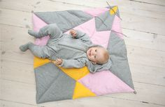 play-fold-bird, light - FABELAB  AMAZING! play-fold-bird is a soft and beautiful patchwork babyblanket that can fold into an origami bird! by FABELAB   see more on www.fabelab.dk