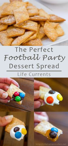 Football Party Dessert Spread including Pie Crust Cookies with M&M'S® Brand…
