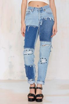 After Party Vintage Riot Patch Jeans - Clothes | All | After Party | Denim |  | Newly Added | Denim