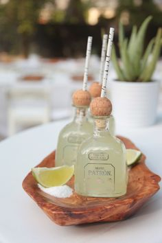 Fill your margaritas in cute tequila bottles. Make a day ahead and chill overnight.  Click here for my classic margarita recipe.   Related posts: Mini Altar Mini Cookie Caramel Apples