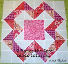 Great, detailed X marks the Spot block tutorial DSC04739-2 by sewcraftyjess, via Flickr