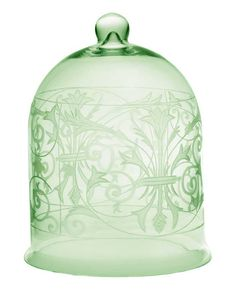 Antique green glass bell jar