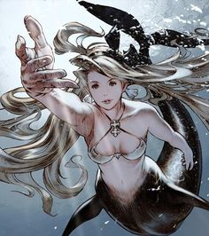 by akihiko yoshida - composition, foreshortened mermaid                                                                                                                                                                                 もっと見る