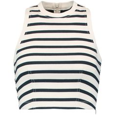 T by Alexander Wang Cropped striped cotton top (195 BRL) ❤ liked on Polyvore featuring tops, crop top, shirts, ivory, stripe top, white crop top, white cotton tops, striped top and white cotton shirt