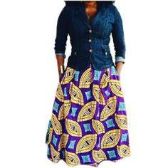 BELLA African Print Maxi Skirt - Zabba Designs African Clothing Store  - 1