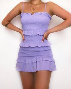Polyester Model wears size 8 Length (taken from size Adjustable shoulder straps Stretchy Shirred Fabric Cold hand wash only Purple Outfits, Girly Outfits, Cute Casual Outfits, Pretty Outfits, Pretty Dresses, Casual Dresses, Floral Dress Outfits, 2000s Fashion, Look Fashion