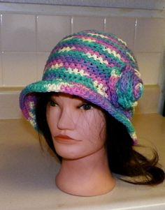 Crochet Cloche Flapper Chemo Beanie 1920s Hat With Flower Soft Cotton | momentsintyme - Crochet on ArtFire