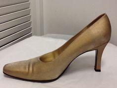 Stuart Weitzman Chic Satin Champagne Gold High Heel Pump Sz 9 #StuartWeitzman #PumpsClassics #SpecialOccasion