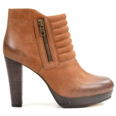 Bottines en cuir - cognac