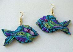 3D Fish Earrings in Purple Green Blue & White by MysticDreamerArt, $25.00