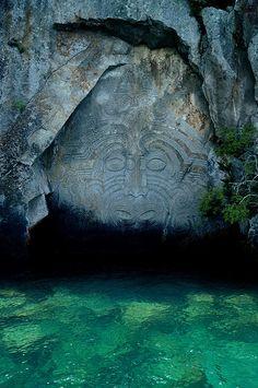 Maori Carvings at Mine Bay on Lake Taupo, New Zealand