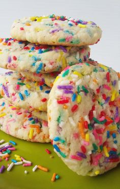 Easy Sprinkles Cake Cookies by justhelen: Made with boxed cake mix!  #Cookies #Sprinkle #justhelen