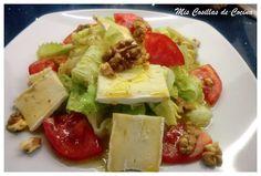 Ensalada de queso Brie y vinagreta de miel Queso Brie, No Cook Meals, Guacamole, Feta, Potato Salad, Delish, Vegetarian, Yummy Food, Cheese