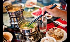 Hot pots are meant to be for one person, but they can easily feed two. Chinese Street Food, Scallion Pancakes, Calamari, Sesame Oil, Hot Pot, Small Plates, Ticket, Dip