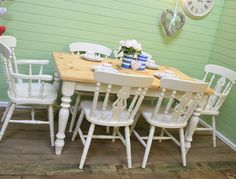 Shabby Chic Farmhouse Table With 6 Fiddle Back Chairs* Solid Pine*farrow & Ball